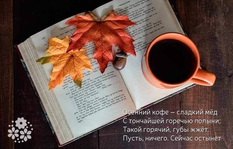 Осенние листья и кофе картинки красивые и милые014