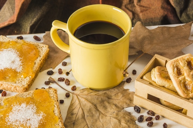 Осенние листья и кофе картинки красивые и милые018