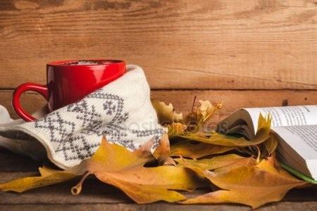 Осенние листья и кофе картинки красивые и милые020