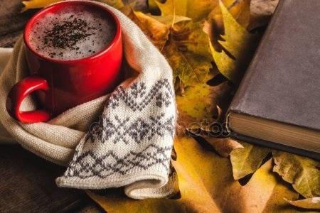 Осенние листья и кофе картинки красивые и милые022
