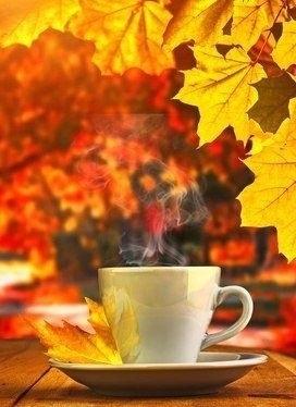 Осенние листья и кофе картинки красивые и милые023
