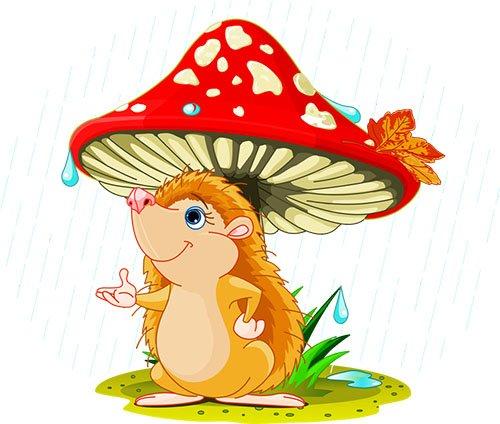 Осенний лес с грибами картинки для детей (10)