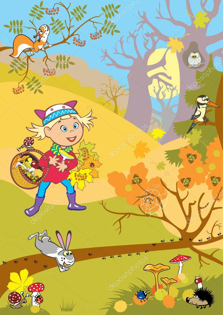 Осенний лес с грибами картинки для детей (22)