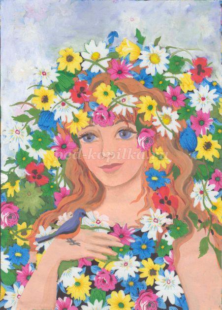 Осень в образе девушки рисунок для детей (12)