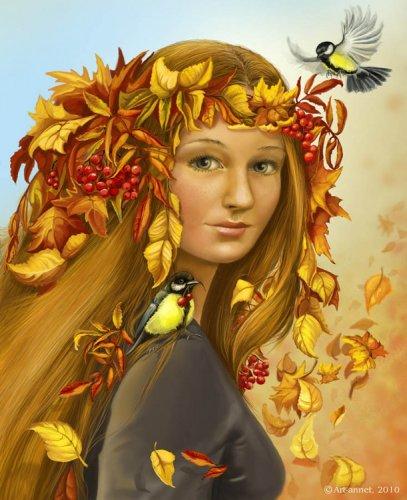 Осень в образе девушки рисунок для детей (14)