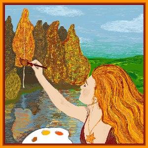 Осень в образе девушки рисунок для детей (16)