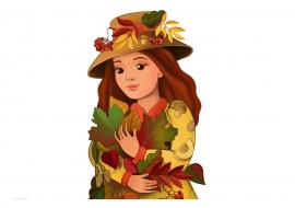 Осень в образе девушки рисунок для детей (19)