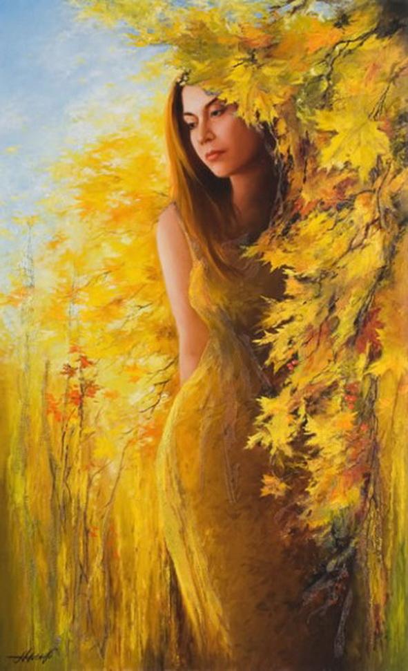 Осень в образе девушки рисунок для детей (23)
