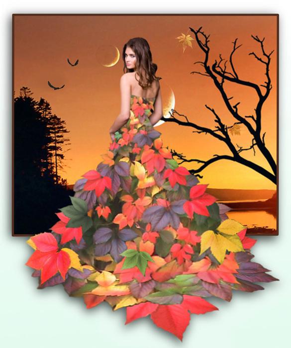 Осень в образе девушки рисунок для детей (25)
