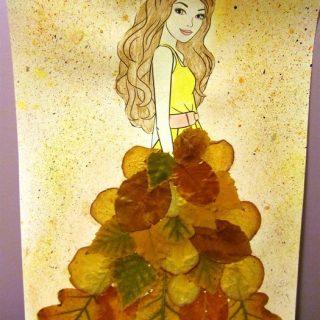 Осень в образе девушки рисунок для детей (4)