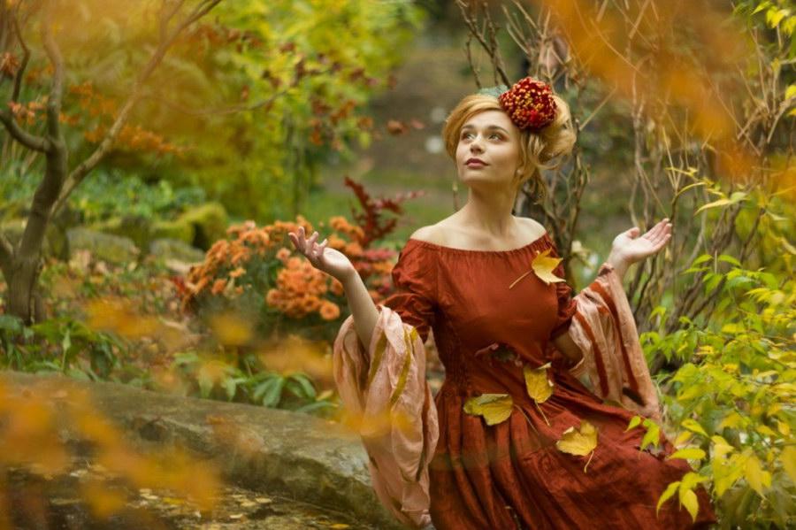 Женщина и осень в картинках для