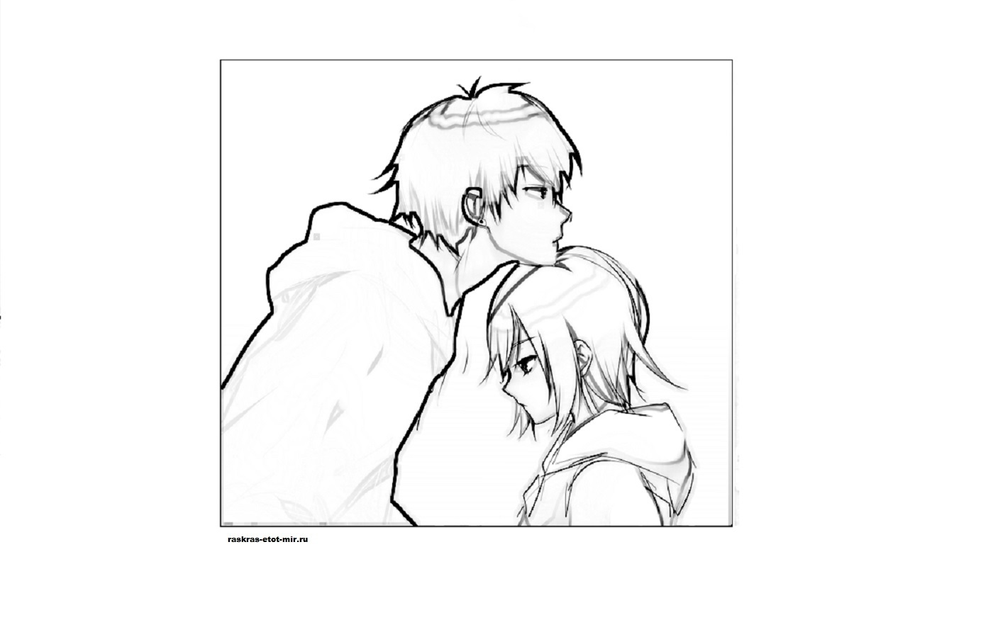 Пара аниме раскраска для детей002