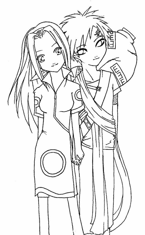 Пара аниме раскраска для детей003