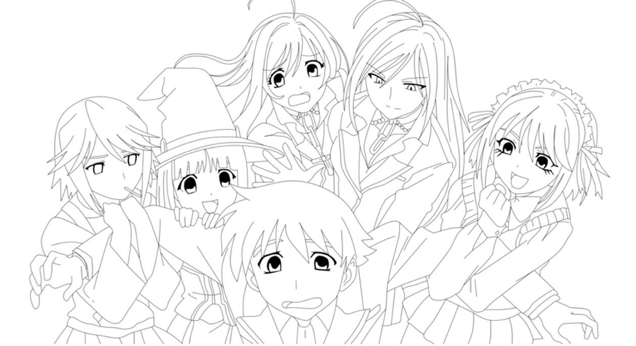 Пара аниме раскраска для детей004