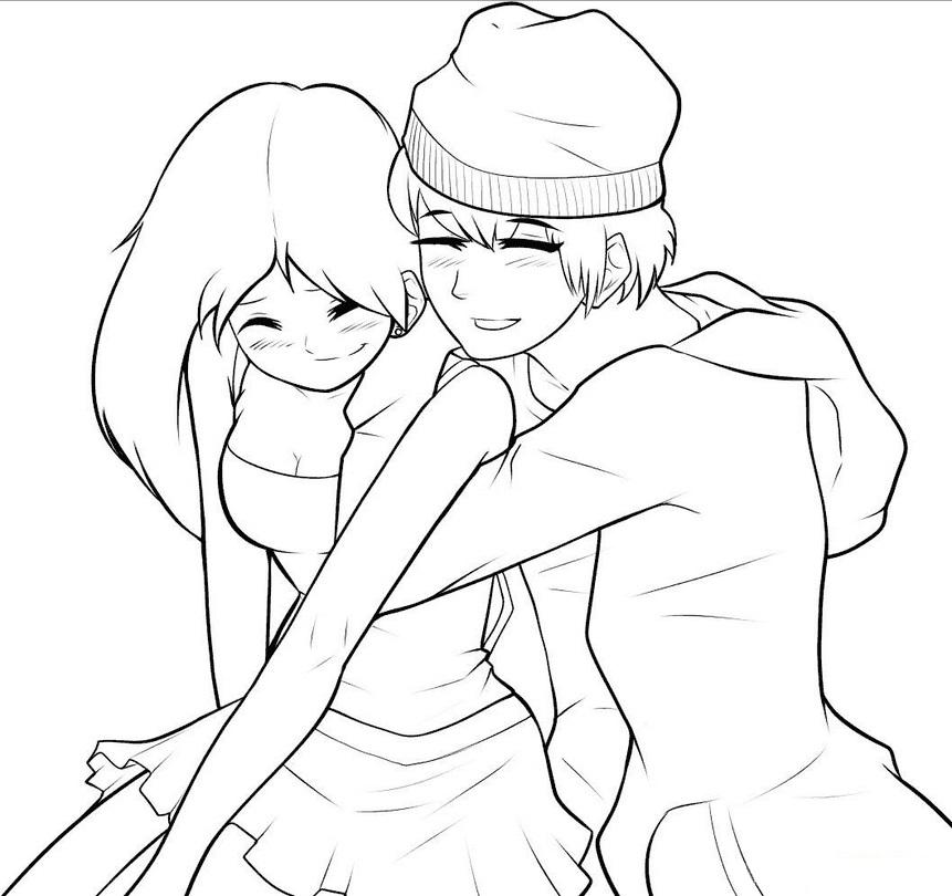 Пара аниме раскраска для детей006
