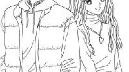Пара аниме раскраска для детей007