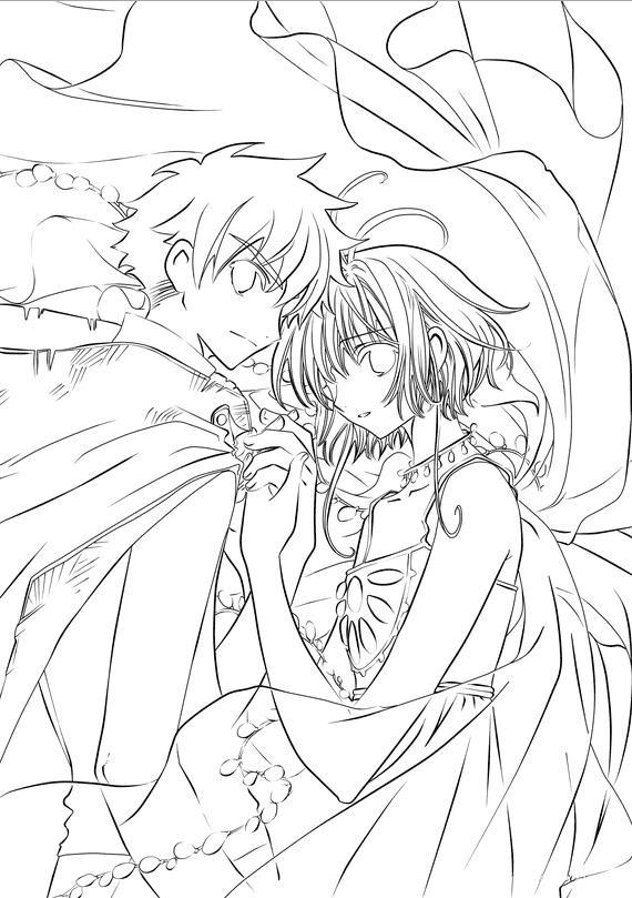 Пара аниме раскраска для детей013