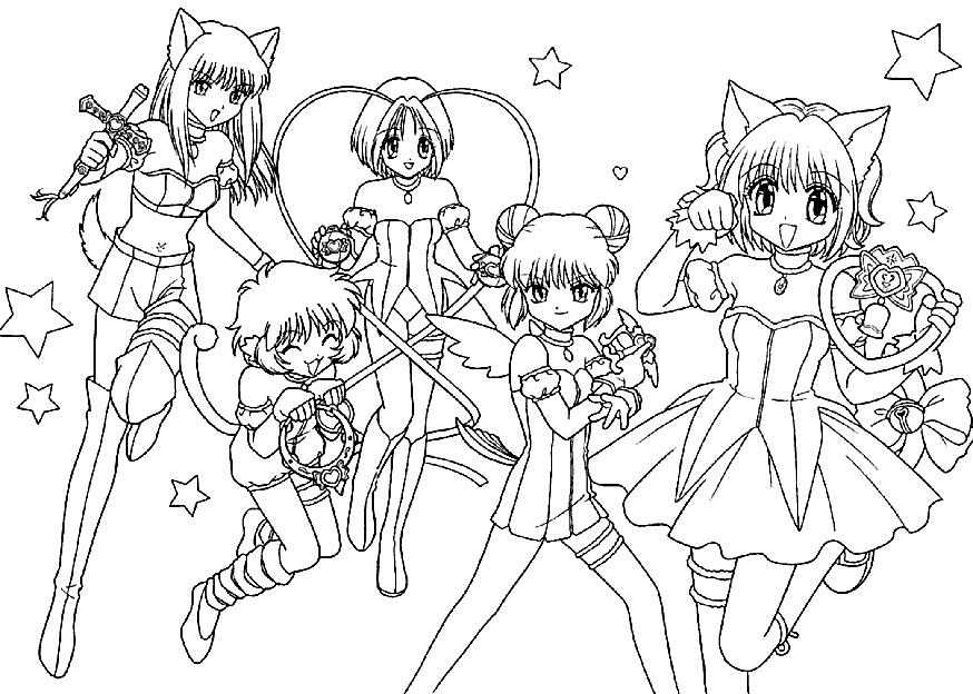Пара аниме раскраска для детей015