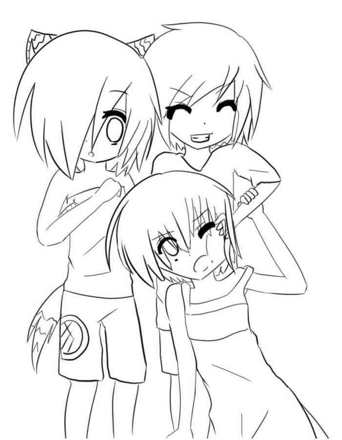 Пара аниме раскраска для детей016