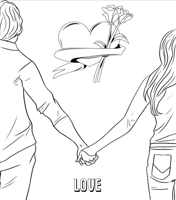 Пара аниме раскраска для детей017