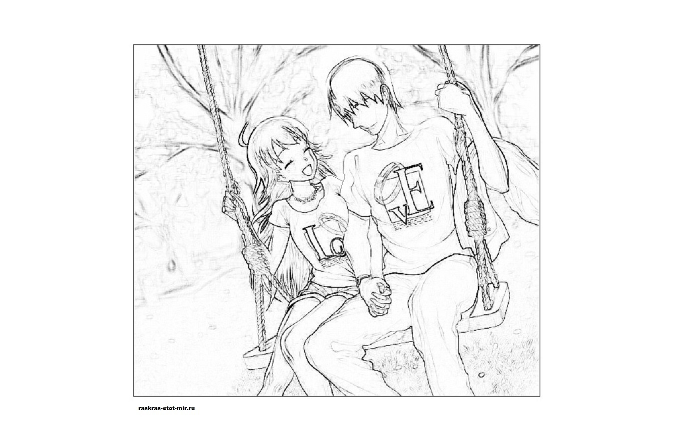 Пара аниме раскраска для детей019