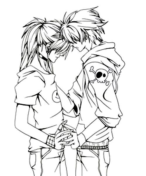 Пара аниме раскраска для детей021