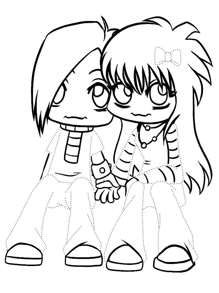Пара аниме раскраска для детей022