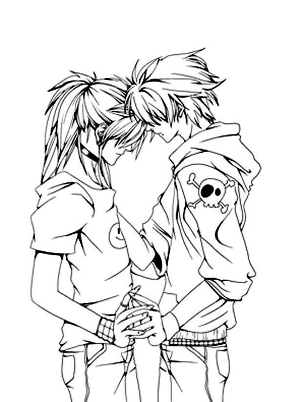 Пара аниме раскраска для детей024