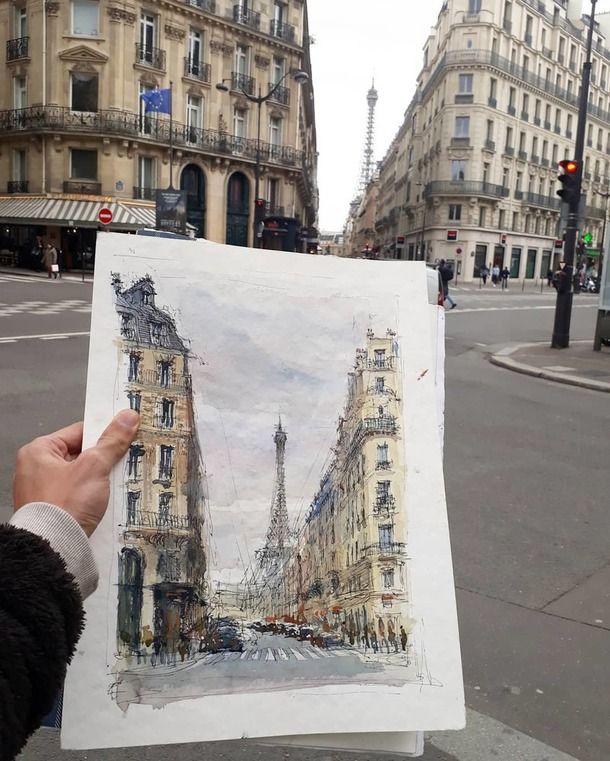 Париж картинки рисованные - 35 рисунков (13)