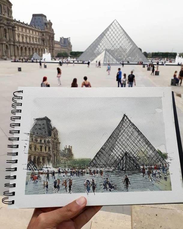 Париж картинки рисованные - 35 рисунков (17)
