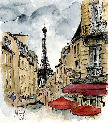 Париж картинки рисованные - 35 рисунков (19)