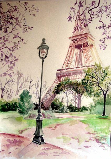 Париж картинки рисованные - 35 рисунков (21)