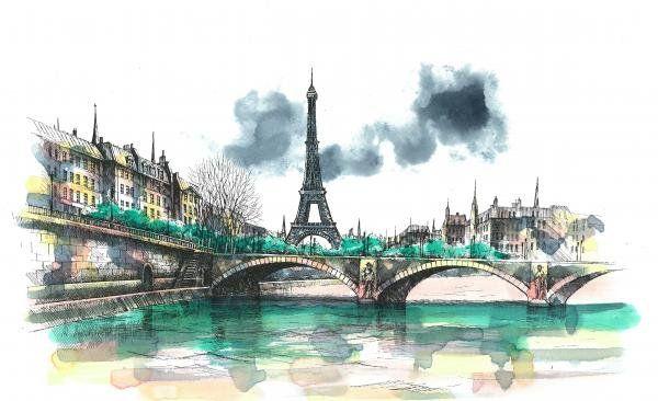Париж картинки рисованные - 35 рисунков (31)