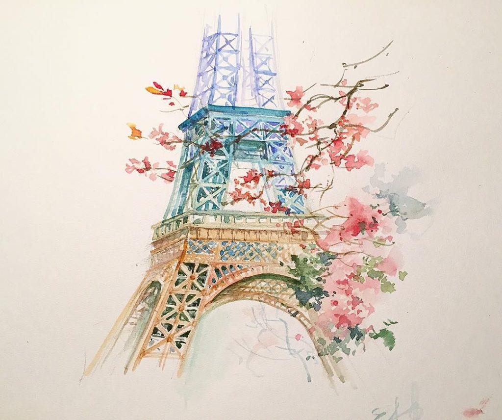 Париж картинки рисованные - 35 рисунков (7)