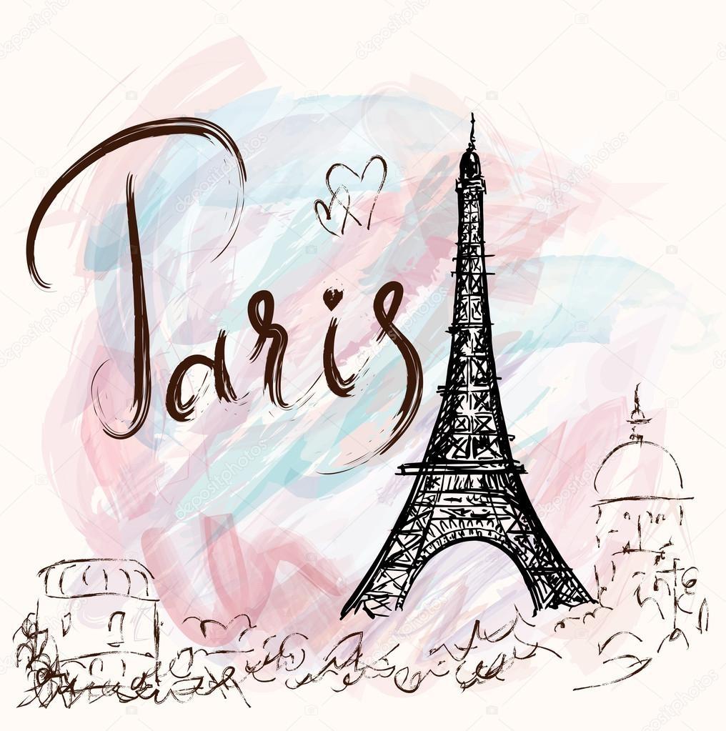 Париж рисованные картинки001