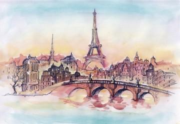 Париж рисованные картинки002