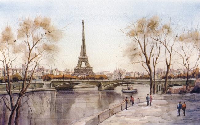 Париж рисованные картинки004