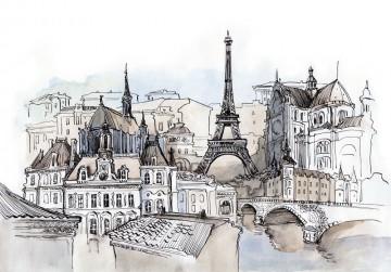 Париж рисованные картинки006