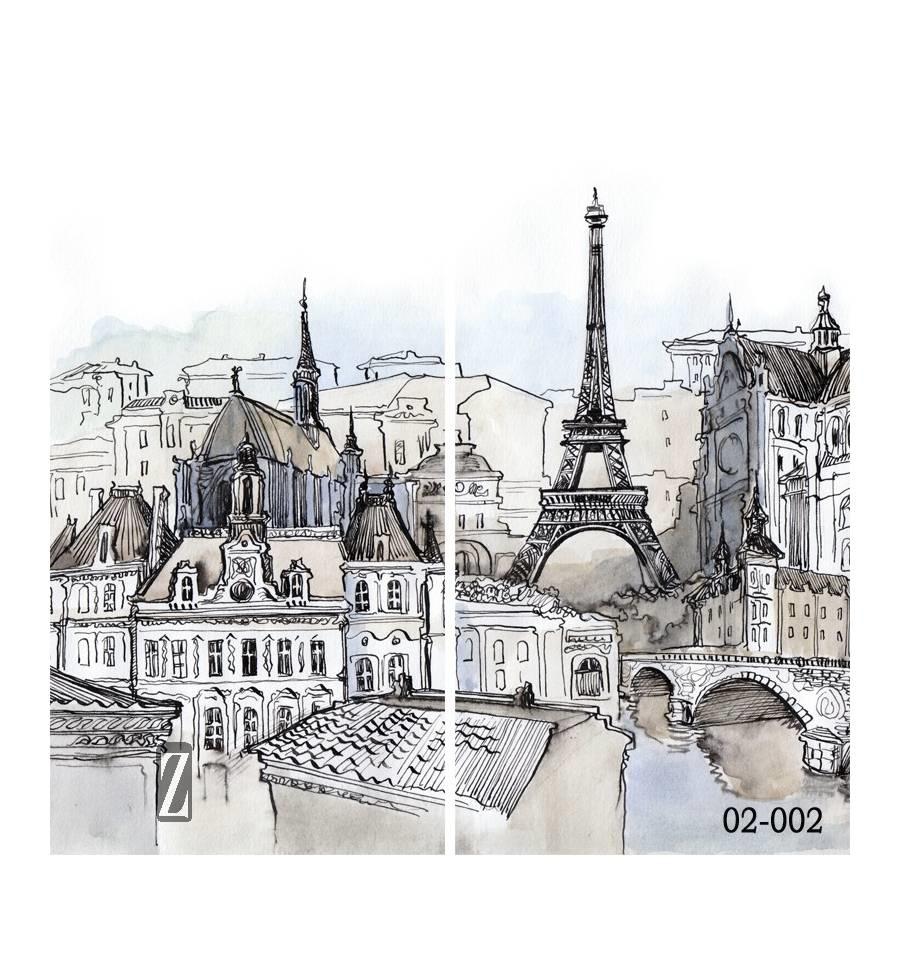 Париж рисованные картинки008