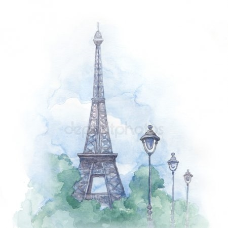 Париж рисованные картинки010