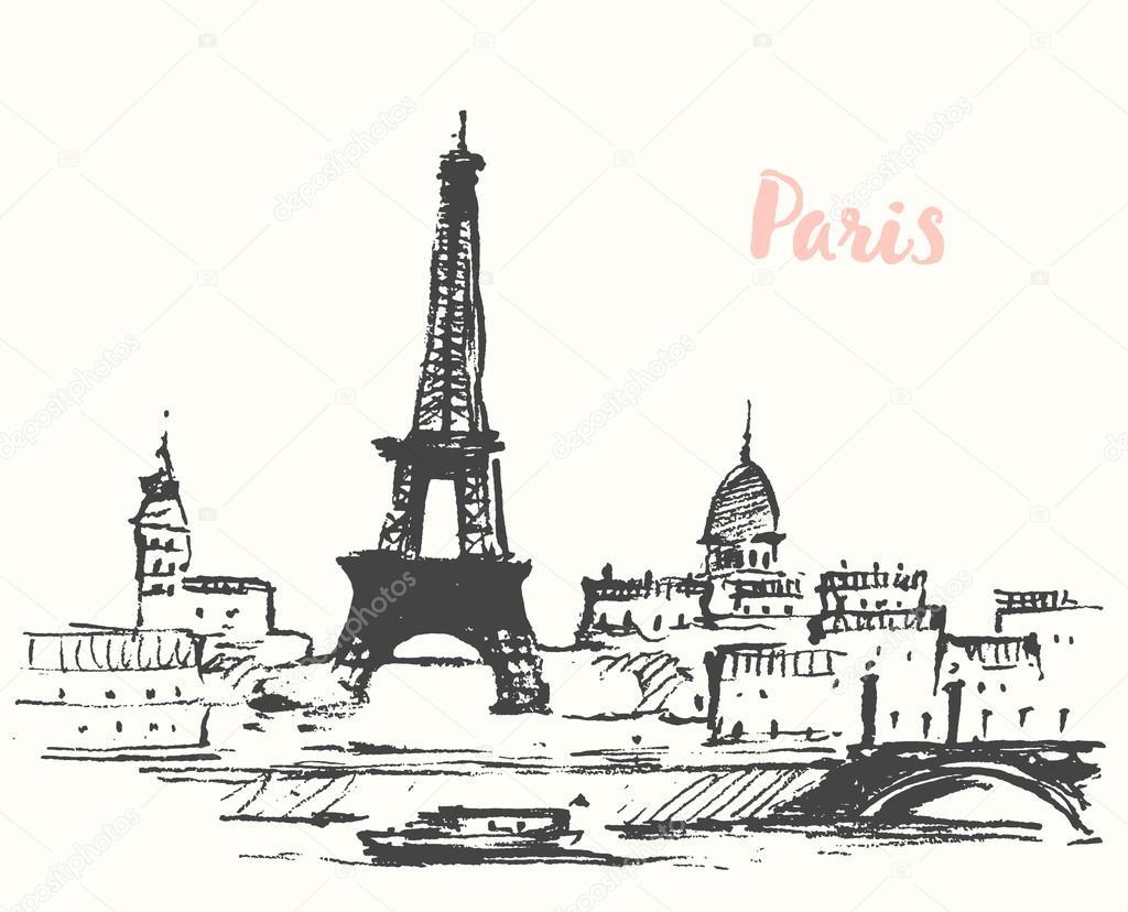 Париж рисованные картинки013