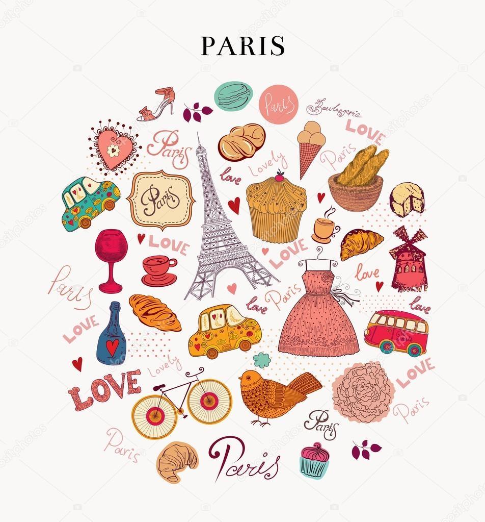 Париж рисованные картинки015
