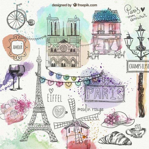 Париж рисованные картинки016