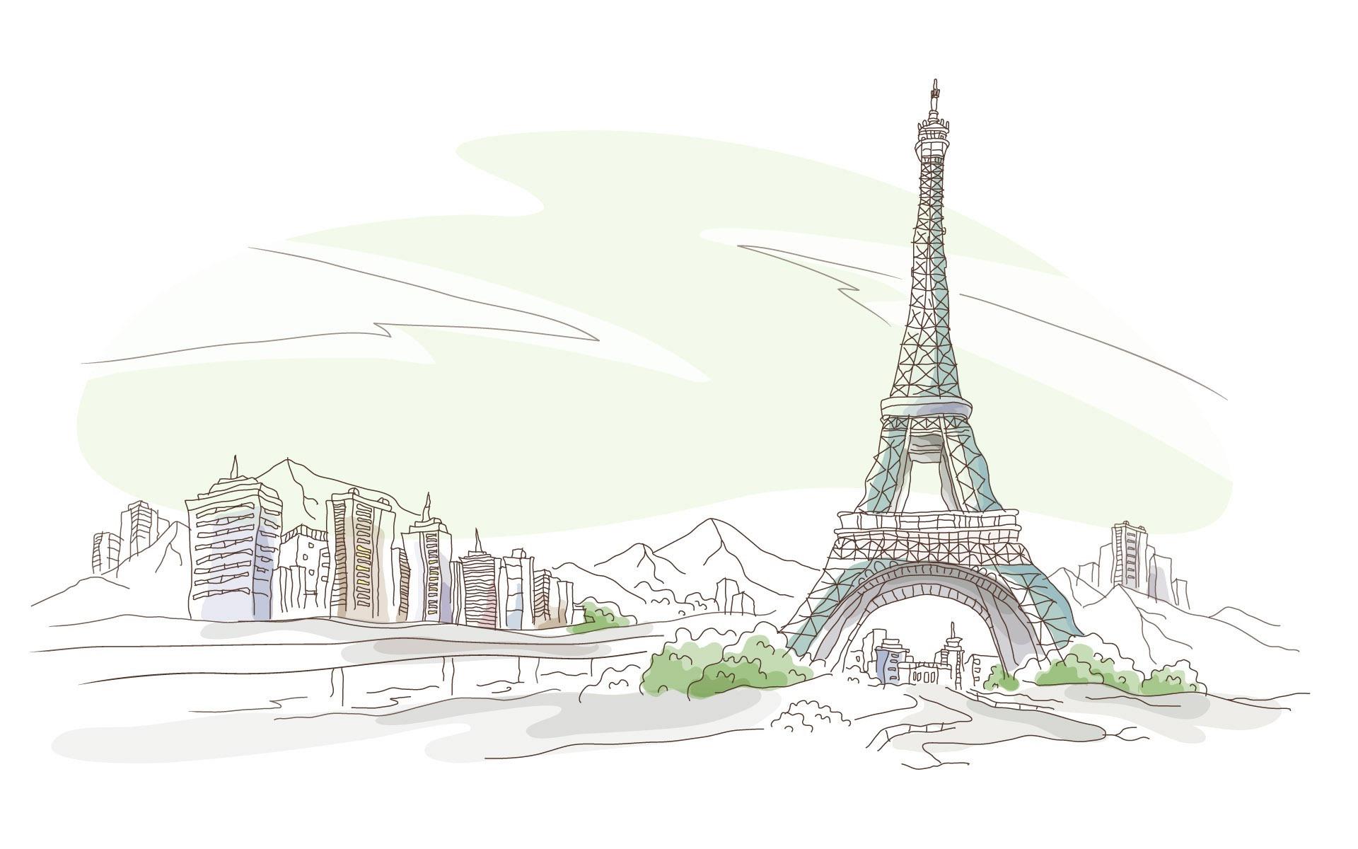Париж рисованные картинки017