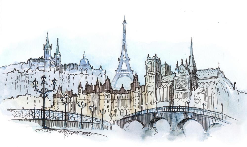 Париж рисованные картинки019