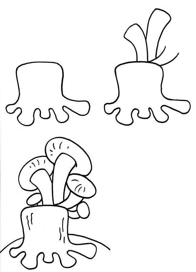 Пенек с грибами раскраска для детей008
