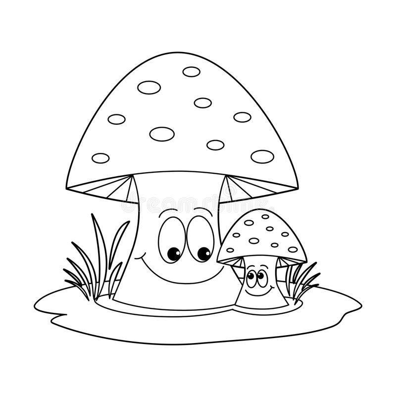Пенек с грибами раскраска для детей009
