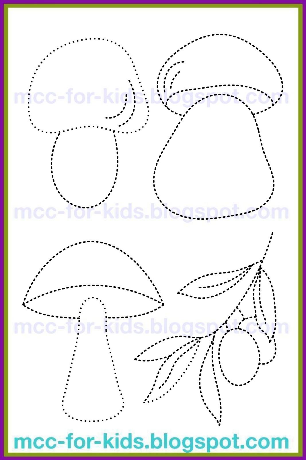 Пенек с грибами раскраска для детей013