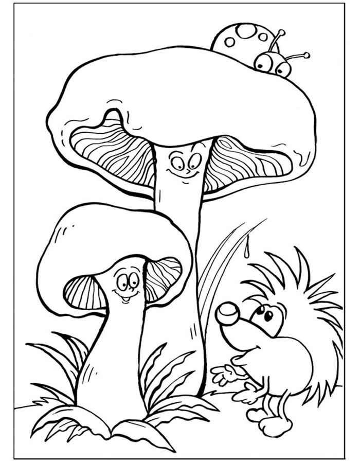 Пенек с грибами раскраска для детей016