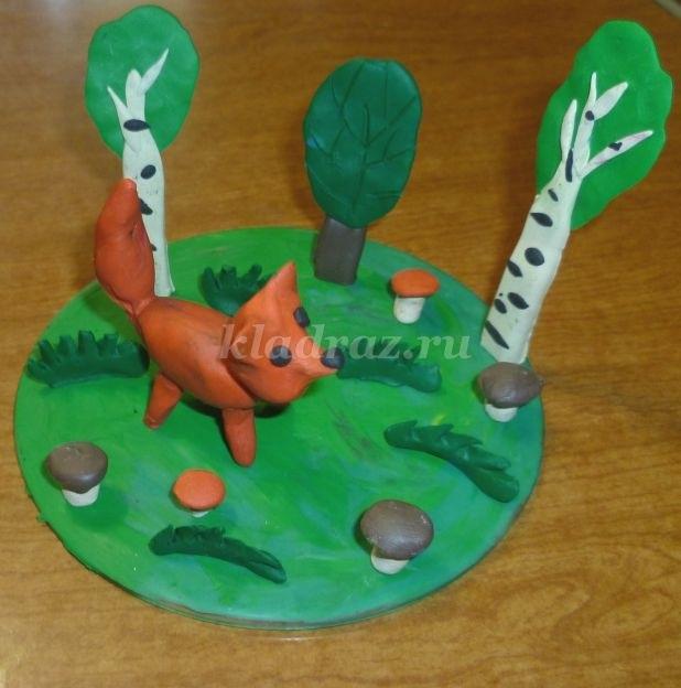 Поделка грибная полянка из пластилина для детей001